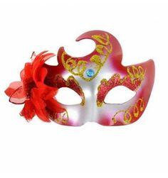 MASCARA VENECIANA ACABADO ROJO BRILLANTE 3 D, Costumes, Pattern, Masks, Parties, Halloween, Sexy, Flower, Venetian Masks