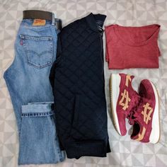 Levi's 522, Zara Man Quilted Navy Bomber Jacket, Selected Homme Red T-shirt, Asics Gel Lyte III Veg-Tan Pack