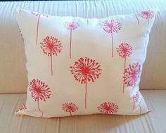 Decorative Coral Dandelion Throw Pillow.