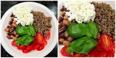 Steffit: Kaksi illallista ja ähkysyömisestä Jauhelihaa, papuja, raejuustoa, basilikaa, tomaatteja. ja Kanaa, kananmunaa, avokadoa, cantaloupemelonia, saksanpähkinöitä, oliiviöljyä.