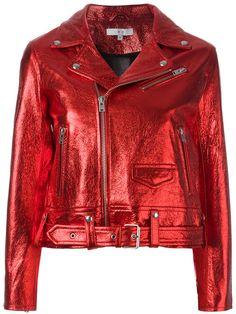 Red lambskin metallic biker jacket from Iro. Riders Jacket, Moto Jacket, Leather Jacket, Biker Leather, Cute Jackets, Biker Jackets, Outerwear Jackets, Coats For Women, Jackets For Women