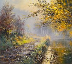 """Autumn Sunlight, Wolfscote Dale"" by Rex Preston - limited edition print ~~~~~ look at that fog!!! :-o"