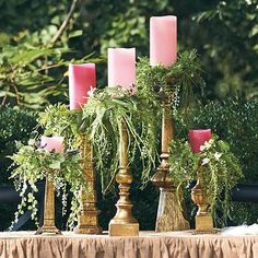 Set of five Dover Antique Gold Candlesticks – Grandin Road - Diy Garden Decorations Flameless Candles, Pillar Candles, Gold Candles, Beeswax Candles, Wedding Centerpieces, Wedding Decorations, Spring Decorations, Wedding Ideas, Centrepieces