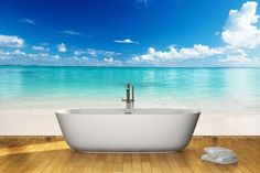 beach wall mural in bathroom | clothing entrance while using walls mural these kinds of murals are ...