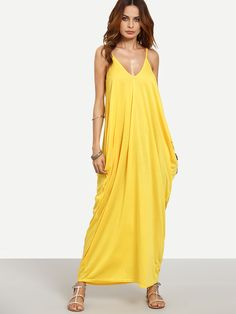 Shop Yellow Spaghetti Strap Plain Maxi Dress online. SheIn offers Yellow Spaghetti Strap Plain Maxi Dress & more to fit your fashionable needs.