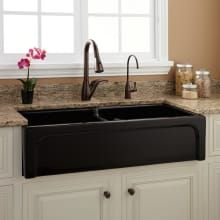 Buy the Signature Hardware 394759 Black Direct. Shop for the Signature Hardware 394759 Black Risinger Double Basin Fireclay Farmhouse Sink and save. Black Farmhouse Sink, Fireclay Farmhouse Sink, Farmhouse Sinks, Farmhouse Furniture, Rustic Furniture, Farmhouse Decor, Farmhouse Ideas, Kitchen Furniture, Luxury Furniture