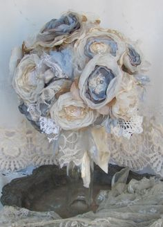 Bridal Fabric Flower Bouquet  Custom Order any color