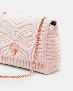 Quilted velvet cross body bag - Dusky Pink | Bags | Ted Baker UK