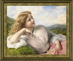 Old Master Oil Painting Art Antique Portrait Girl Lady Hand-Painted Canvas 20x24 #Realism
