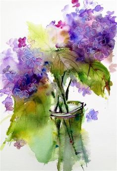 Daily Paintworks - Pamela Harnois.  Interesting alternative technique for sketching lilacs and hydrangeas...negative painting gets a little tedious.