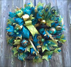 Peacock Wreath by Holiday Baubles on Facebook