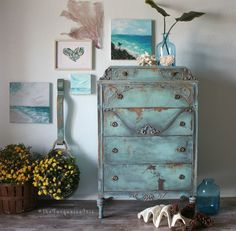 The Turquoise Iris ~ Vintage Modern Hand Painted Furniture: My Most Popular Image on Instagram - Two Blue Or Too Blue Makeovers