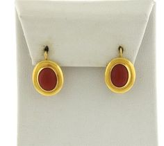 18K Gold Oval Coral Earrings Featured in our upcoming auction on September 13!