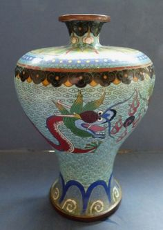GOOD CHINESE CLOISONNE MEIPING VASE WITH DRAGONS - 19TH CENTURY