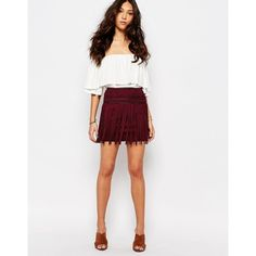 38402a8cba First   I Fringe Faux Suede Mini Skirt ( 34) ❤ liked on Polyvore featuring