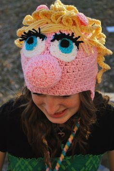 "Cute ""Piggy"" hat! Fun custom crochet item. This would be a neat baby shower gift!"