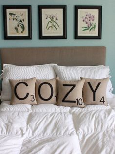 Buy these playful pillows on Etsy or recreate them yourself. -- COZY Scrabble Pillows - CASES ONLY // Scrabble Tile Pillows // Letter Pillow Cushions My New Room, My Room, Home Bedroom, Bedroom Decor, Bedrooms, Extra Bedroom, Master Bedroom, Home Interior, Interior Design
