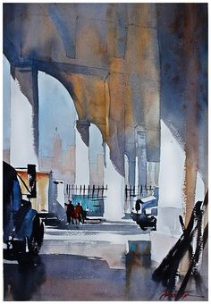 """6th street bridge overpass""-plein air thomas w schalller watercolor 22x15 07 november 2013"