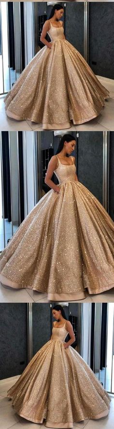 Ball Gown Prom Dress with Pockets Beads Sequins Floor-Length Gold Quinceanera Dresses, This dress could be custom made, there are no extra cost to do custom size and color Source by shmilyprom gowns gold Prom Dresses With Pockets, Straps Prom Dresses, Pink Prom Dresses, Backless Prom Dresses, Ball Gowns Prom, Cheap Prom Dresses, Long Bridesmaid Dresses, Quinceanera Dresses, Ball Dresses