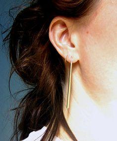 minimalist brass bar earrings simple modern everyday long dangle linear line earrings brushed brass sleek contemporary LONG GOLD BARS