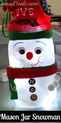 Learn how to make a snowman mason jar craft for kids! It's a fun and easy Christmas art project for kids to make. These make great luminaries.