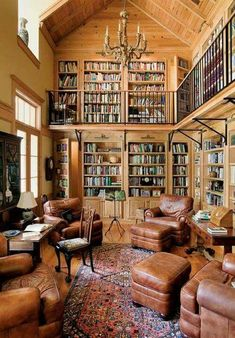 Architektur French Colonial Style for a New House Two- story library. The post French Colonial Style for a New House appeared first on Architektur. Beautiful Library, Dream Library, Beautiful Homes, Cozy Library, Reading Library, Reading Room Decor, Future Library, Reading Chairs, French Colonial