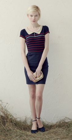 ALEXA Navy/Red: Short-sleeved polo shirt with stripes.  NANETTE Navy: High-waisted pencil skirt, inverted pleats, back welt pockets. Betina Lou Spring-Summer 2013