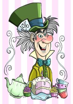 Items similar to Alice in Wonderland Mad Hatter Art Print by Hungry Designs on Etsy Alice In Wonderland Drawings, Alice In Wonderland Party, Hipster Drawings, Disney Drawings, Lewis Carroll, Mad Hatter Day, Disneyland, Alice Book, Chesire Cat