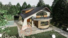 Casa cu etaj 69 | Proiecte de case personalizate | Arhitect Gabriel Georgescu & Echipa My House Plans, Luxury House Plans, Small House Design, Modern House Design, Minimalist Architecture, Modern Architecture, Modern House Facades, Dream House Exterior, Facade House