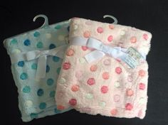 Baby Fleece Blanket Pink Or Blue Polka Dot Deluxe Cuddly Wrap Soft Touch 76x76cm