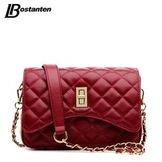 BOSTANTEN Famous Designer Purses And Handbags 2016 Genuine Leather Messenger bag Lady Diamond Lattice Small Chain Cross Body Bag