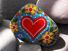 Painted rocks: by Sandi Pike Foundas Heart Painting, Pebble Painting, Dot Painting, Pebble Art, Stone Painting, Stone Crafts, Rock Crafts, Arts And Crafts, Hand Painted Rocks