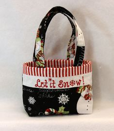 A tote for any season, the Snow Gift Bag changes it\'s stripes along with your choice of fabric.