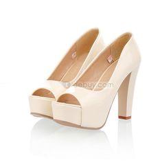 洗練されたクローズドつま先ウェッジヒールパテントレザー女性靴
