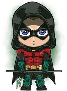 Robin - Arkham Knight Chibi Marvel, Marvel Dc Comics, Cartoon Drawings, Cartoon Art, Lord Mesa Art, Comic Pictures, Logo Pictures, Arkham Knight, Batman Arkham