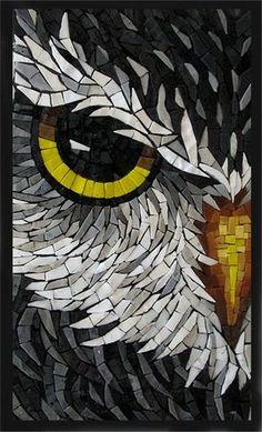* Owl, mosaic, art, craft, gray, bird, animal, tiles, wildlife 257