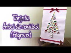 Tarjeta arbol de navidad de filigrana, Quilling Christmas tree card - YouTube