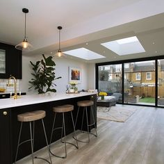 We've created a really special space with this rear extension, vaulting the ceiling up and introducing three large skylights all running in the direction of the garden so when you . Open Plan Kitchen Dining Living, Living Room Kitchen, Home Decor Kitchen, Kitchen Interior, New Kitchen, Kitchen Design, Kitchen Extension Uk, Kitchen Remodel, Decoration