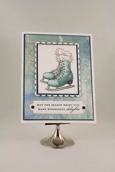 Handmade Christmas Card  Winter Ice Skates Teal and by TrioCards, $4.00