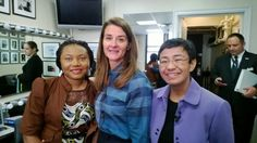 Atlas Corps Fellow Spotting!!!  +SocialGood Advisors (Atlas Corps Fellow) Esther Agbarakwe & Maria Ressa backstage with Melinda French Gates at the Social Good Summit. #2030Now