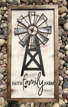 Faith Family Farm Farmhouse Sign Farmhouse Decor Wall Decor Windmill Sign Farm Sign Sign F Farmhouse Wall Decor, Farmhouse Signs, Rustic Farmhouse, Farm Signs, Wood Signs, Windmill Wall Decor, Wood Crafts, Diy Crafts, Cactus Wall Art