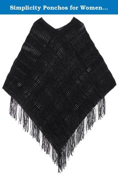 Simplicity Ponchos for Women Batwing Knitted Tassel Pullover Sweater, Black. Ponchos are one of the hottest trends out in the fashion world. With the cold seasons coming up, be prepared with this adorable stylish poncho sweater. Unlike a regular poncho, this is acts like a sweater with arms that will keep your body warm and cozy! The fringe trim design will add character to any outfit of yours. Pair it with leggings, jeans, or even a cute skirt. Material: 65% Cotton + 35% Acrylic Size:...