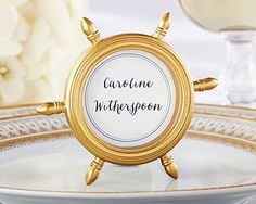 Gold Ship Wheel Frame is perfect as a place card holder in nautical theme, beach theme or summer time wedding or anniversary. The ship wheel shaped frame with an antique golden matte finish can also be. Nautical Wedding Favors, Nautical Wedding Inspiration, Nautical Theme, Wedding Ideas, Wedding Decorations, Aisle Decorations, Nautical Style, Wedding Styles, Wedding Planning