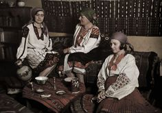 Women in traditional dress visit in home decorated in national style. Folk Costume, Costumes, National Geographic Images, Bulgarian, Bohemian Gypsy, Color Photography, Image Collection, Traditional Dresses, Hipster