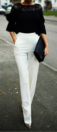 Best Summer Outfit Ideas 55 Work Attire You Will Want To Try Super Chic Fashion Outfits Summer Fashion Casual Outfits 2019 Copy Right Now Black And White Outfit, White Outfits, Casual Outfits, Black White, White Pants Outfit, Dress Black, Casual Wear, White Beige, Casual Shorts
