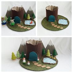 Frog Pond Tree Stump Cottage Playscape Play Mat felt pretend open-ended storytelling fantasy storybook Dollhouse fairy house fairytale toy