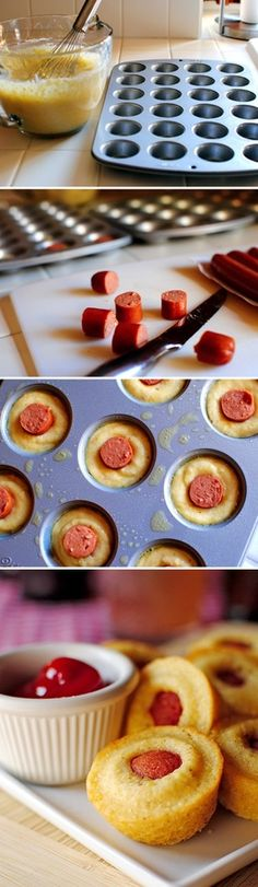 lunchbox idea - mini corn dogs (do with  mock cornbread/millet bread & decent hot dogs) this would be a great party idea too! Plus I'm sure there are much healthier breads to use out there!