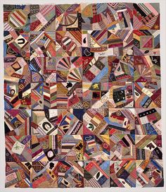 Quilt Top, Crazy pattern Date: ca. 1885 Geography: Mid-Atlantic, New York, United States Culture: American Medium: Silk, satin, velvet, and cotton Dimensions: 60 3/4 x 52 in. (154.3 x 132.1 cm) Classification: Textiles