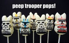 Marshmallow Peep Pops | these are not the peeps you are looking for.....(bonus points if you can name all the troopers representin' here...) @sugarswings