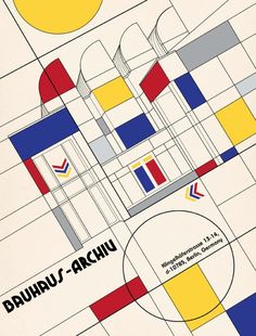 in the style of De Stijl / Piet Mondrian. Bauhaus Art, Bauhaus Style, Bauhaus Design, Bauhaus Logo, Walter Gropius, Modernisme, Plakat Design, Rationalism, Constructivism